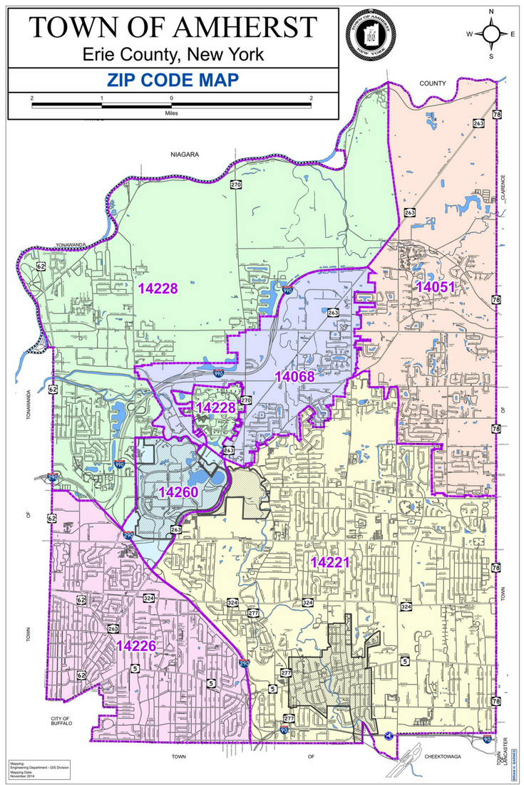 Map of the Town of Amherst with zip code borders